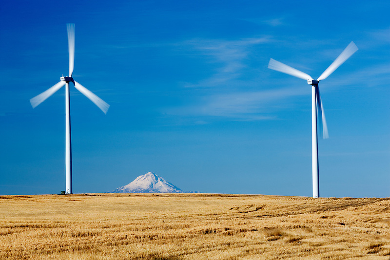 Wind turbins and Mt. Hood near Wasco, Oregon