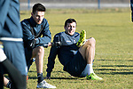 St Johnstone Training…02.02.18<br />Joe Shaughnessy and Scott Tanser pictured in training this morning at McDiarmid Park ahead of tomorrow's game at Hearts<br />Picture by Graeme Hart.<br />Copyright Perthshire Picture Agency<br />Tel: 01738 623350  Mobile: 07990 594431