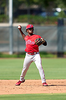 Philadelphia Phillies shortstop Jamari Baylor (3) throws to first base during an Extended Spring Training game against the Toronto Blue Jays on June 12, 2021 at the Carpenter Complex in Clearwater, Florida. (Mike Janes/Four Seam Images)