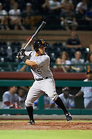 Salt River Rafters catcher Chris Rabago (5) at bat during an Arizona Fall League game against the Scottsdale Scorpions on October 14, 2015 at Scottsdale Stadium in Scottsdale, Arizona.  Scottsdale defeated Salt River 13-3.  (Mike Janes/Four Seam Images)
