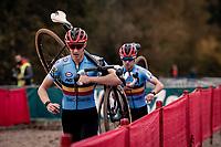 teammates Michael Vanthourenhout (BEL/Pauwels Sauzen - Bingoal) & Eli Iserbyt (BEL/Pauwels Sauzen-Bingoal) leading the race<br /> <br /> UEC Cyclocross European Championships 2020 - 's-Hertogenbosch (NED)<br /> <br /> Elite MEN<br /> <br /> ©kramon