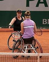 Paris, France, 7 june 2021, Tennis, French Open, Roland Garros,  Womans Wheelchair doubles final:  Dide de Groot (NED) and Aniek van Koot (NED) (L)<br /> Photo: tennisimages.com