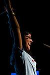 Emma Biermann cheers at PowerShift UK. (©Robert vanWaarden)
