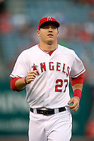 Mike Trout #27 of the Los Angeles Angels before a game against the Chicago White Sox at Angel Stadium on September 22, 2012 in Anaheim, California. Los Angeles defeated Chicago 4-2. (Larry Goren/Four Seam Images)