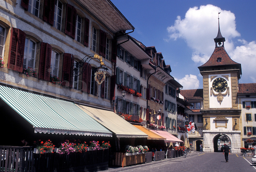 Fribourg, Switzerland, Murten/Morat, The town of Murten/Morat and The Bern Gate with its clock tower and belfry.