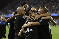SAN JOSE, CA - AUGUST 24: Andres Rios #25 celebrates scoring with teammates during a Major League Soccer (MLS) match between the San Jose Earthquakes and the Vancouver Whitecaps FC  on August 24, 2019 at Avaya Stadium in San Jose, California.