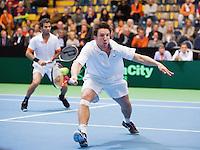 07-04-12, Netherlands, Amsterdam, Tennis, Daviscup, Netherlands-Rumania, Dubbels, Igor Sijsling(R) en Jean-Julien Rojer