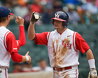 Houston Cougars MP Cokinos scores against the Texas Tech Red Raiders on Sunday March 7th, 2100 at the Astros College Classic in Houston's Minute Maid Park.  (Photo by Andrew Woolley / Four Seam Images)