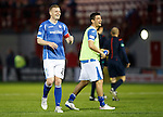 Hamilton Accies v St Johnstone...31.10.15  SPFL  New Douglas Park, Hamilton<br /> Brian Easton and Graham Cummins have a laugh at full time<br /> Picture by Graeme Hart.<br /> Copyright Perthshire Picture Agency<br /> Tel: 01738 623350  Mobile: 07990 594431