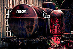 Railroad fire car on static display at the BC Forest Center in Duncan, British Columbia gives tours of the center, which includes an indoor museum and outdoor exhibits of logging equipment, towns, and railroads.