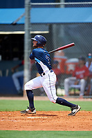 GCL Rays third baseman Allen Smoot (3) follows through on a swing during the first game of a doubleheader against the GCL Twins on July 18, 2017 at Charlotte Sports Park in Port Charlotte, Florida.  GCL Twins defeated the GCL Rays 11-5 in a continuation of a game that was suspended on July 17th at CenturyLink Sports Complex in Fort Myers, Florida due to inclement weather.  (Mike Janes/Four Seam Images)
