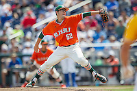 Miami Hurricanes pitcher Frankie Bartow (52) delivers a pitch to the plate against the UC Santa Barbara Gauchos in Game 5 of the NCAA College World Series on June 20, 2016 at TD Ameritrade Park in Omaha, Nebraska. UC Santa Barbara defeated Miami  5-3. (Andrew Woolley/Four Seam Images)