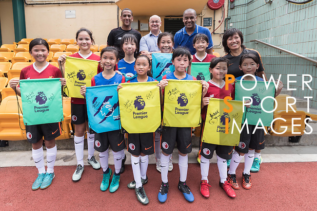From Left to Right : Phil Babb, Mark Sutcliffe, Mark Bright and children pose for a group photo for the launch of the Premier League Asia Trophy 2017 at the Hong Kong Football Club on 01 June 2017 in Hong Kong, China. Photo by Chris Wong / Power Sport Images