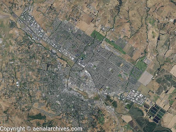 aerial photo map of Petaluma, Sonoma County, California, 2016