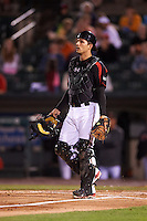 Rochester Red Wings catcher John Ryan Murphy (12) during a game against the Syracuse Chiefs on July 1, 2016 at Frontier Field in Rochester, New York.  Rochester defeated Syracuse 5-3.  (Mike Janes/Four Seam Images)