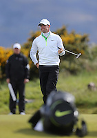 Friday 29th May 2015; Rory McIlroy finds it tough to take and he double bogies the 15th<br /> <br /> Dubai Duty Free Irish Open Golf Championship 2015, Round 2 County Down Golf Club, Co. Down. Picture credit: John Dickson / SPORTSFILE