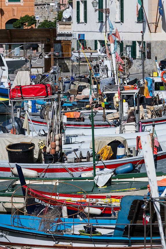 Rustic, fishing boats docked in harbor, Camogli, Liguria, Italy.