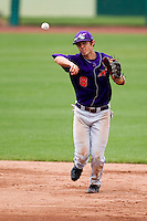 Eric Stamets (8) of the Evansville Purple Aces throws to first base during a game against the Missouri State Bears at Hammons Field on May 12, 2012 in Springfield, Missouri. (David Welker/Four Seam Images)