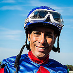 OLDSMAR, FL - JANUARY 21: Daniel Centeno, poses after winning the Wayward Lass Stakes, on Skyway Festival Day at Tampa Bay Downs on January 21, 2017 in Oldsmar, Florida. (Photo by Douglas DeFelice/Eclipse Sportswire/Getty Images)