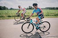 defending champion and cyclocross superstar Mathieu van der Poel (NED/Corendon-Circus) + CX U23 World Champion Eli Iserbyt (BEL/Marlux-Bingoal) together at the back of the peloton early in the race<br /> <br /> 3rd Dwars Door Het hageland 2018 (BEL)<br /> 1 day race:  Aarschot > Diest: 198km