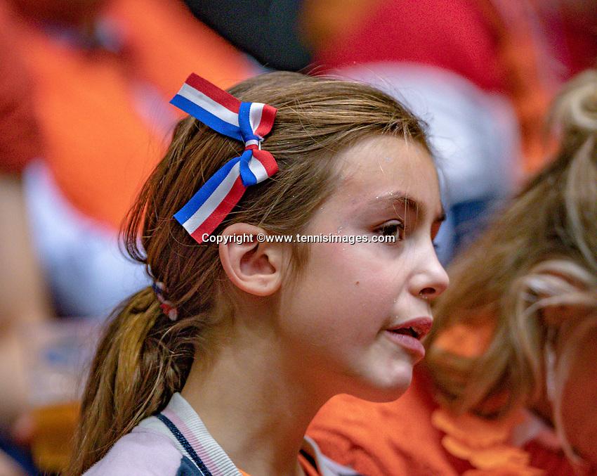 Den Bosch, The Netherlands, Februari 9, 2019,  Maaspoort , FedCup  Netherlands - Canada, First round match : Dutch supporter<br /> Photo: Tennisimages/Henk Koster