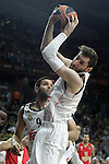 Real Madrid's Felipe Reyes (l) and Rudy Fernandez during Euroleague Final Match. May 15,2015. (ALTERPHOTOS/Acero)