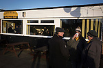 Alvechurch FC 3 Highgate United 0, 26/12/2016. Lye Meadow, Midland Football League Premier Division. Three home supporters chatting outside the clubhouse at Lye Meadow before Alvechurch hosted Highgate United in a Midland Football League premier division match. Originally founded in 1929 and reformed in 1996 after going bust, the club has plans to move from their current historic ground to a new purpose-built stadium in time for the 2017-18 season. Alvechurch won this particular match by 3-0, watched by 178 spectators, taking them back to the top of the league. Photo by Colin McPherson.