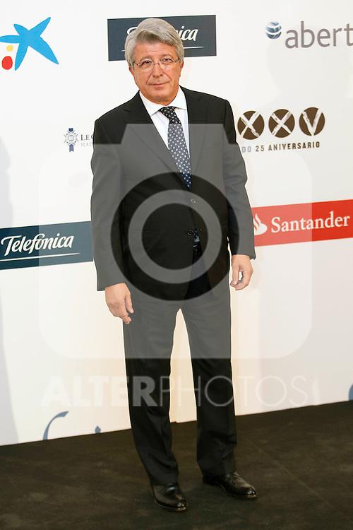 """King Felipe of Spain and Queen Letizia of Spain attend 'XIII EDICIÓN DE LOS PREMIOS INTERNACIONALES DE PERIODISMO 2013 Y CONMEMORACIÓN DEL 25º ANIVERSARIO DEL DIARIO """"EL MUNDO"""" at The Westin Palace Hotel. <br /> Enrique Cerezo<br /> October 20, 2014. (ALTERPHOTOS/Emilio Cobos)"""