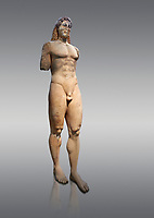 Marble Anxcient Greek Archaic meble statue of a kouros, circa 530 BC, found in Kea,  Athens National Archaeological Museum. Cat no 3886. Against grey.<br /> <br /> The statue is a lively sculpture with good plasticity in the rendering of the torso. Made by a Kea sculptor.