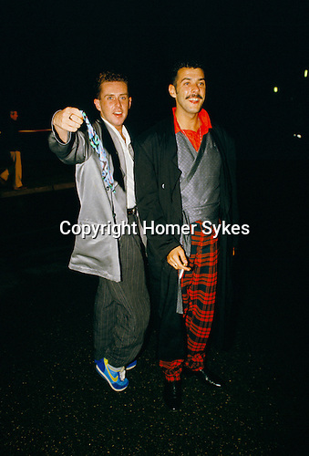 British vocalists Holly Johnson (left) & Paul Rutherford (right), of British pop group Frankie Goes To Hollywood..