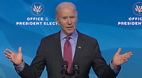"""United States President-elect Joe Biden delivers remarks introducing """"key members of his economic and jobs team"""" from the Queen Theatre in Wilmington, Delaware on Friday, January 8, 2021. <br /> Credit: Biden Transition TV via CNP /MediaPunch<br /> CAP/MPI/RS<br /> ©RS/MPI/Capital Pictures"""