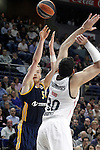 Real Madrid's Ioannis Bourousis (r) and Alba Berlin's Niels Giffey during Euroleague match.March 12,2015. (ALTERPHOTOS/Acero)
