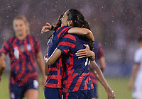 EAST HARTFORD, CT - JULY 1: Christen Press #11 of the USWNT celebrates a goal with Tobin Heath #7 during a game between Mexico and USWNT at Rentschler Field on July 1, 2021 in East Hartford, Connecticut.