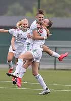 Zenia Mertens (6) of OH Leuven, Sari Kees (2) of OH Leuven and Linde Veefkind (25) of OH Leuven pictured during a female soccer game between Oud Heverlee Leuven and Eendracht Aalst on the second matchday of the 2021 - 2022 season of Belgian Womens Super League , sunday 29 nd of August 2021  in Heverlee , Belgium . PHOTO SPORTPIX.BE   JILL DELSAUX