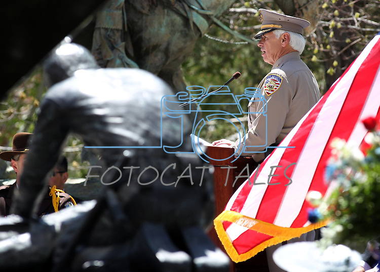 Nye County Sheriff Tony De Meo speaks Thursday afternoon, May 5, 2011, on the Capitol grounds in Carson City, Nev., during the Nevada Law Enforcement Officers Memorial ceremony. Nye County Sheriff's Deputy Ian Deutch, who was killed in the line of duty last year, was honored during the event. .Photo by Cathleen Allison