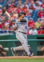 29 July 2017: Colorado Rockies outfielder Gerardo Parra in action against the Washington Nationals at Nationals Park in Washington, DC. The Rockies defeated the Nationals 4-2 in the first game of their 3-game weekend series. Mandatory Credit: Ed Wolfstein Photo *** RAW (NEF) Image File Available ***