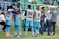 MONTERIA - COLOMBIA, 11-08-2019: Jugadores del Jaguares celebran después de anotar el primer gol de su equipo durante el partido por la fecha 5 de la Liga Águila II 2019 entre Jaguares de Córdoba F.C. y Deportivo Pasto jugado en el estadio Jaraguay de la ciudad de Montería. / Players of Jaguares celebrate after scoring the first goal of their team during match for the date 5 as part Aguila League II 2019 between Jaguares de Cordoba F.C. and Deportivo Pasto played at Jaraguay stadium in Monteria city. Photo: VizzorImage / Andres Rios / Cont