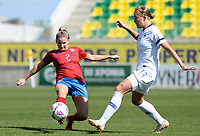20190301 - LARNACA , CYPRUS : Finnish Jenny Danielsson pictured in a duel with Czech Aneta Dedinova during a women's soccer game between Finland and Czech Republic , on Friday 1 March 2019 at the AEK Arena in Larnaca , Cyprus . This is the second game in group A for Both teams during the Cyprus Womens Cup 2019 , a prestigious women soccer tournament as a preparation on the Uefa Women's Euro 2021 qualification duels. PHOTO SPORTPIX.BE   DAVID CATRY