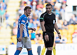 St Johnstone v Hearts…17.09.16.. McDiarmid Park  SPFL<br />Liam Caig has words with referee John Beaton<br />Picture by Graeme Hart.<br />Copyright Perthshire Picture Agency<br />Tel: 01738 623350  Mobile: 07990 594431