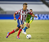 CARSON, CA - August 25, 2012: Chivas USA forward Juan Agudelo (11) during the Chivas USA vs Seattle Sounders match at the Home Depot Center in Carson, California. Final score, Chivas USA 2, Seattle Sounders 6.
