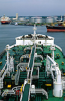 A view of the Houston ship channel as seen from the bridge of a cargo ship. Houston, Texas.