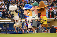 Milwaukee Brewers sausage race during a game against the Minnesota Twins at Miller Park on May 27, 2013 in Milwaukee, Wisconsin.  Minnesota defeated Milwaukee 6-3.  (Mike Janes/Four Seam Images)