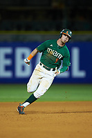 Carl Chester (9) of the Miami Hurricanes hustles towards third base against the North Carolina Tar Heels in the second semifinal of the 2017 ACC Baseball Championship at Louisville Slugger Field on May 27, 2017 in Louisville, Kentucky. The Tar Heels defeated the Hurricanes 12-4. (Brian Westerholt/Four Seam Images)