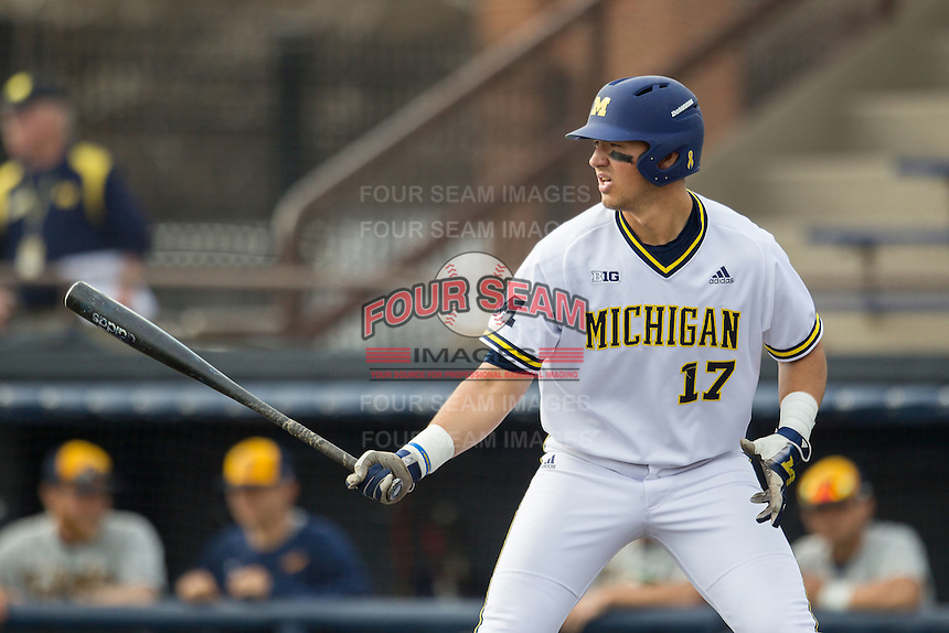 Michigan Wolverines first baseman Drew Lugbauer (17) at the plate against the Toledo Rockets on April 20, 2016 at Ray Fisher Stadium in Ann Arbor, Michigan. Michigan defeated Bowling Green 2-1. (Andrew Woolley/Four Seam Images)