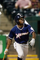 Derrick Robinson (9) of the Northwest Arkansas Naturals watches a pop fly during a game against the Springfield Cardinals at Hammons Field on August 1, 2011 in Springfield, Missouri. Springfield defeated Northwest Arkansas 7-1. (David Welker / Four Seam Images)