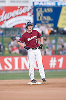 July 4, 2009: Yakima Bears third baseman Matthew Davidson, the Arizona Diamondbacks first pick in the Compensation-A round, hits a stand-up double during a Northwest League game against the Everett AquaSox at Everett Memorial Stadium in Everett, Washington.