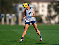 ORLANDO, FL - JANUARY 21: Lynn Williams #6 of the USWNT heads the ball during a training session at the practice fields on January 21, 2021 in Orlando, Florida.