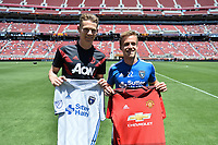Santa Clara, CA - Sunday July 22, 2018: Scott McTominay, Tommy Thompson during a friendly match between the San Jose Earthquakes and Manchester United FC at Levi's Stadium.