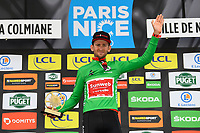 14th March 2020, Paris to Nice cycling tour, final day, stage 7;   BENOOT Tiesj (BEL) of TEAM SUNWEB pictured with the green jersey during the final podium ceremony after stage 7 of the 78th edition of the Paris - Nice cycling race, a stage of 166,5km with start in Nice and finish in Valdeblore La Colmiane on March 14, 2020 in Valdeblore La Colmiane, France