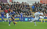 SWANSEA, WALES - JANUARY 17:   of  during the Barclays Premier League match between Swansea City and Chelsea at Liberty Stadium on January 17, 2015 in Swansea, Wales.<br /> <br /> Chelsea's Branislav Ivanovic feels the full force of Wayne Routledge's strike